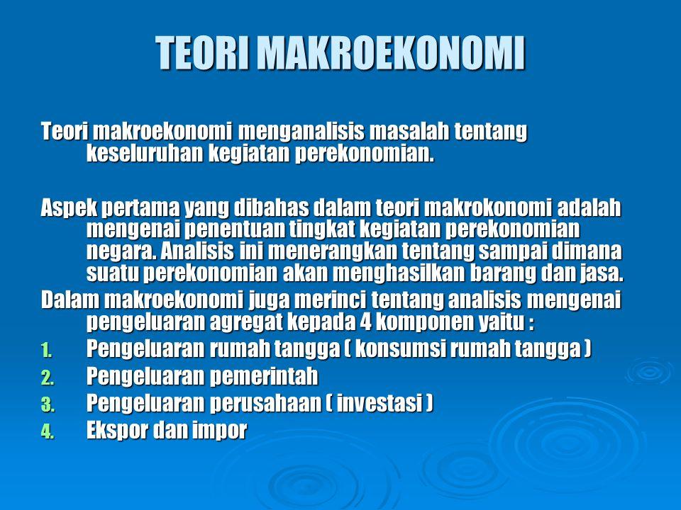 TEORI MAKROEKONOMI Teori makroekonomi menganalisis masalah tentang keseluruhan kegiatan perekonomian.