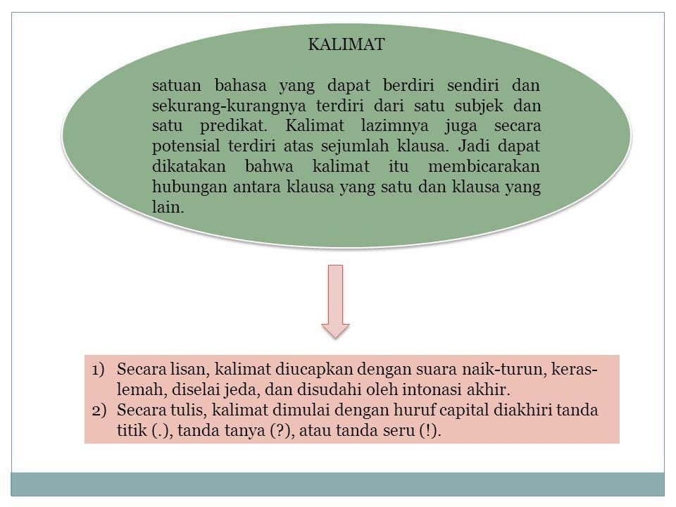 KALIMAT satuan bahasa yang dapat berdiri sendiri dan sekurang-kurangnya terdiri dari satu subjek dan satu predikat. Kalimat lazimnya juga secara poten