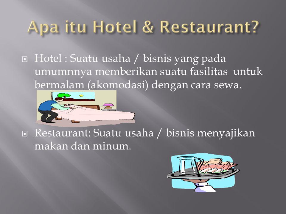  Hotel : Suatu usaha / bisnis yang pada umumnnya memberikan suatu fasilitas untuk bermalam (akomodasi) dengan cara sewa.  Restaurant: Suatu usaha /