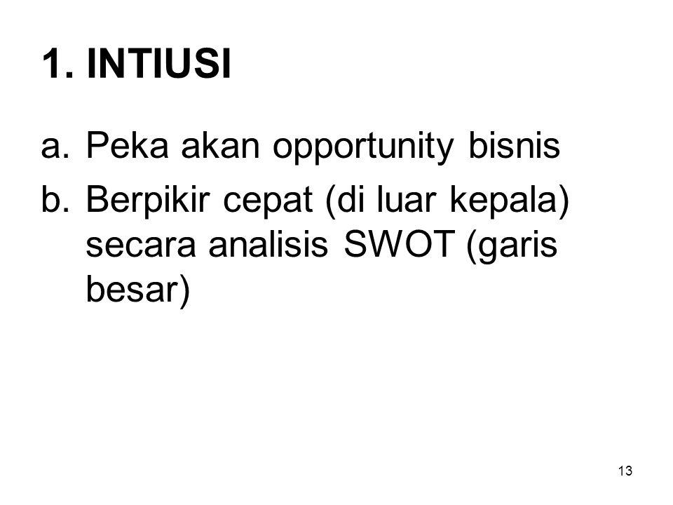 13 1. INTIUSI a.Peka akan opportunity bisnis b.Berpikir cepat (di luar kepala) secara analisis SWOT (garis besar)