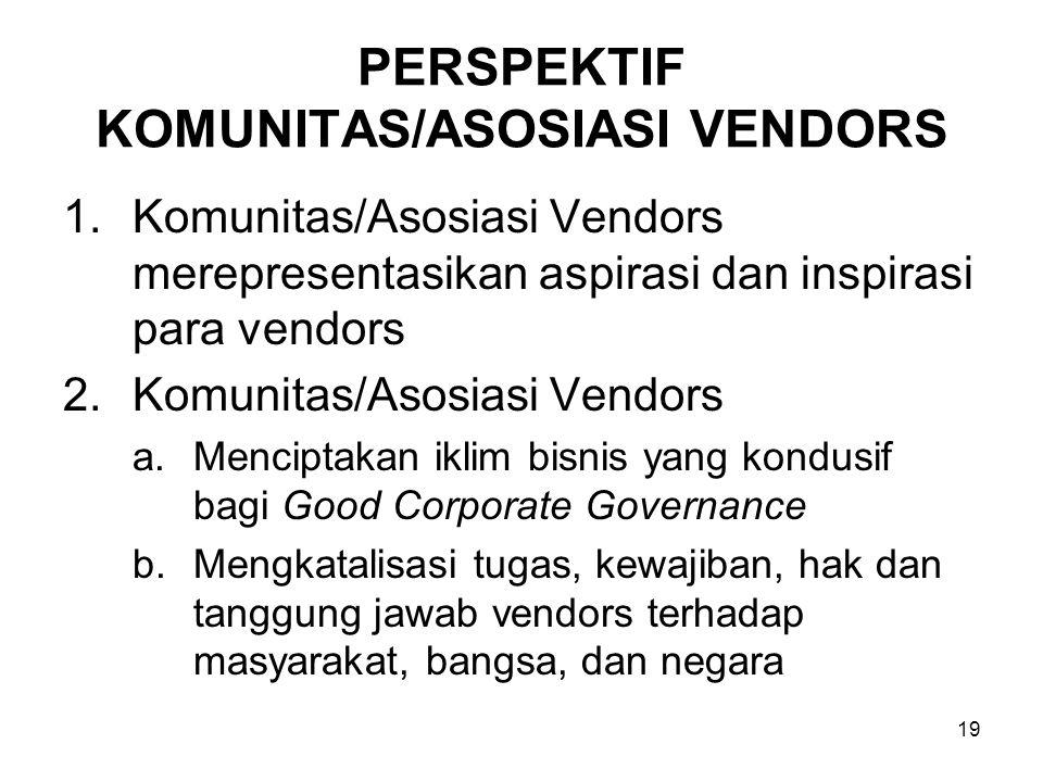 19 PERSPEKTIF KOMUNITAS/ASOSIASI VENDORS 1.Komunitas/Asosiasi Vendors merepresentasikan aspirasi dan inspirasi para vendors 2.Komunitas/Asosiasi Vendo