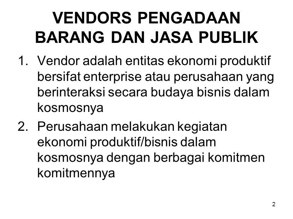 2 VENDORS PENGADAAN BARANG DAN JASA PUBLIK 1.Vendor adalah entitas ekonomi produktif bersifat enterprise atau perusahaan yang berinteraksi secara buda