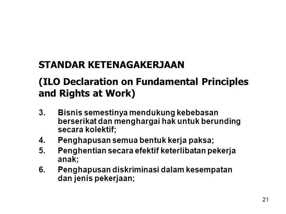 21 3.Bisnis semestinya mendukung kebebasan berserikat dan menghargai hak untuk berunding secara kolektif; 4.Penghapusan semua bentuk kerja paksa; 5.Pe