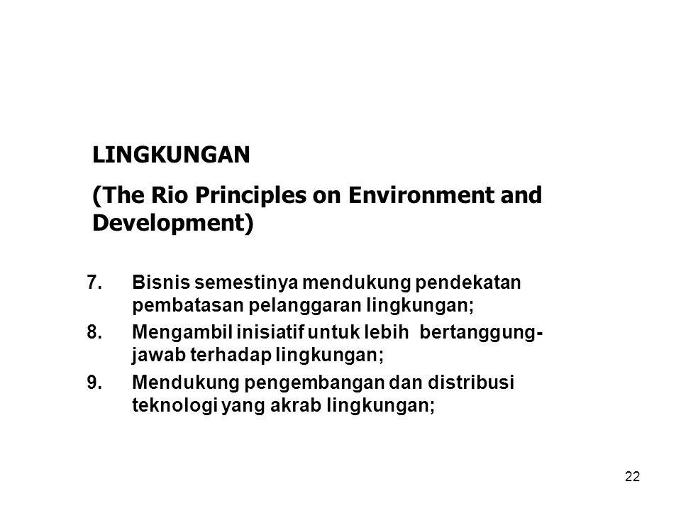 22 7.Bisnis semestinya mendukung pendekatan pembatasan pelanggaran lingkungan; 8.Mengambil inisiatif untuk lebih bertanggung- jawab terhadap lingkunga