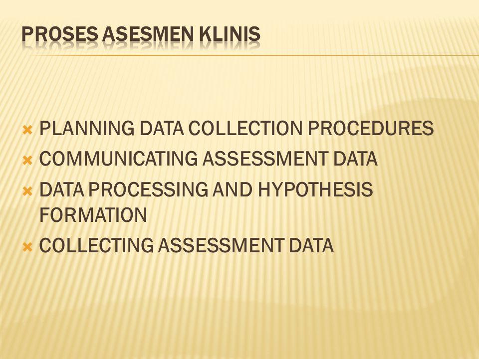 2.Data dilihat sebagai korelasi dengan aspek lain dalam hidup klien.
