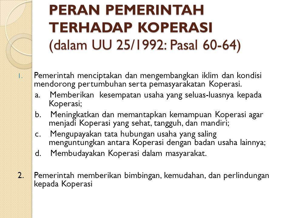PERAN PEMERINTAH TERHADAP KOPERASI (dalam UU 25/1992: Pasal 60-64) 1. Pemerintah menciptakan dan mengembangkan iklim dan kondisi mendorong pertumbuhan
