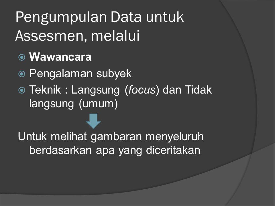 Pengumpulan Data untuk Assesmen, melalui  Wawancara  Pengalaman subyek  Teknik : Langsung (focus) dan Tidak langsung (umum) Untuk melihat gambaran menyeluruh berdasarkan apa yang diceritakan