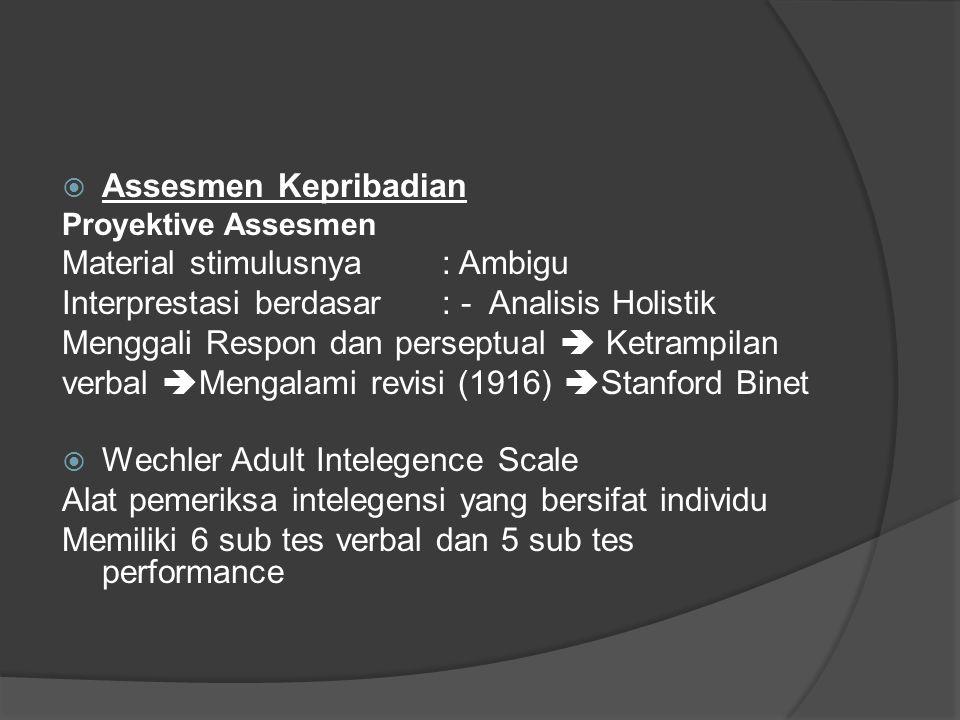  Assesmen Kepribadian Proyektive Assesmen Material stimulusnya : Ambigu Interprestasi berdasar : - Analisis Holistik Menggali Respon dan perseptual 