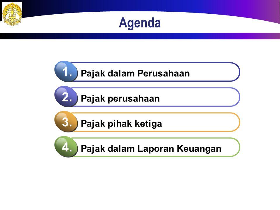 Agenda Pajak dalam Perusahaan 1. Pajak perusahaan 2. Pajak pihak ketiga 3. Pajak dalam Laporan Keuangan 4.