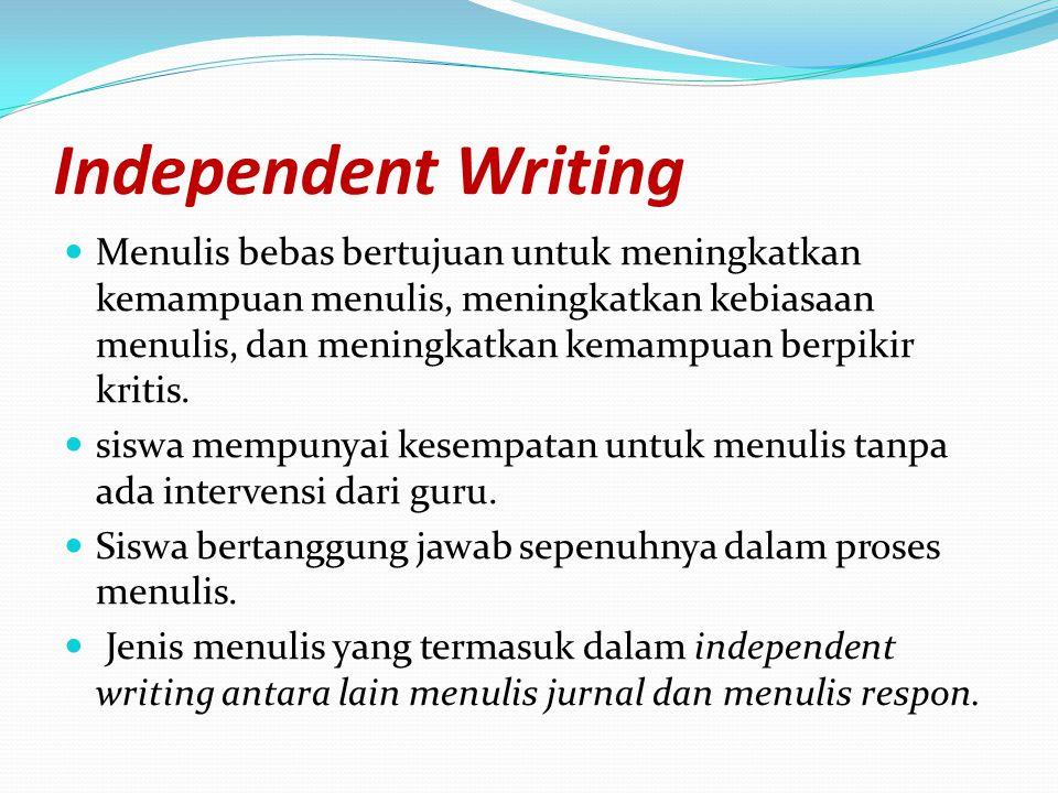 Independent Writing Menulis bebas bertujuan untuk meningkatkan kemampuan menulis, meningkatkan kebiasaan menulis, dan meningkatkan kemampuan berpikir