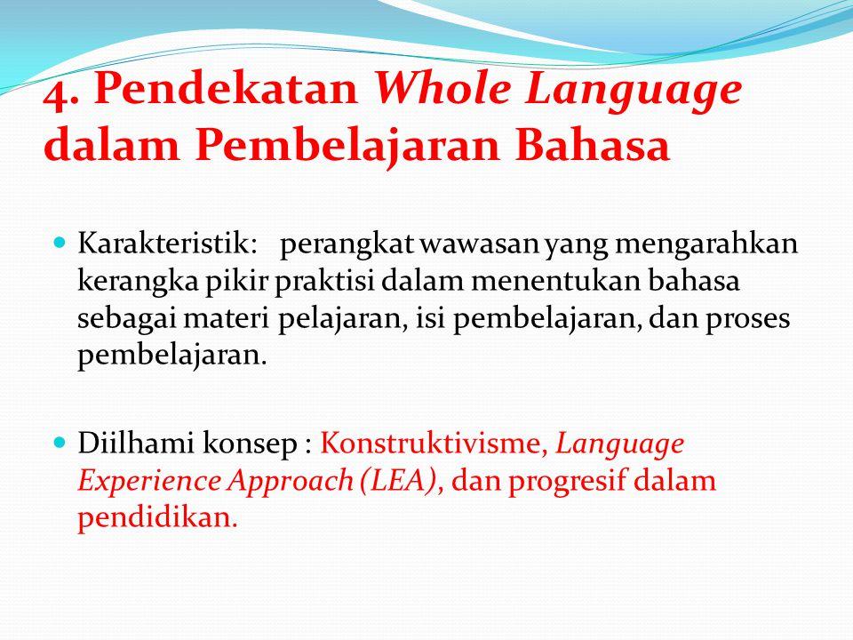 4. Pendekatan Whole Language dalam Pembelajaran Bahasa Karakteristik: perangkat wawasan yang mengarahkan kerangka pikir praktisi dalam menentukan baha