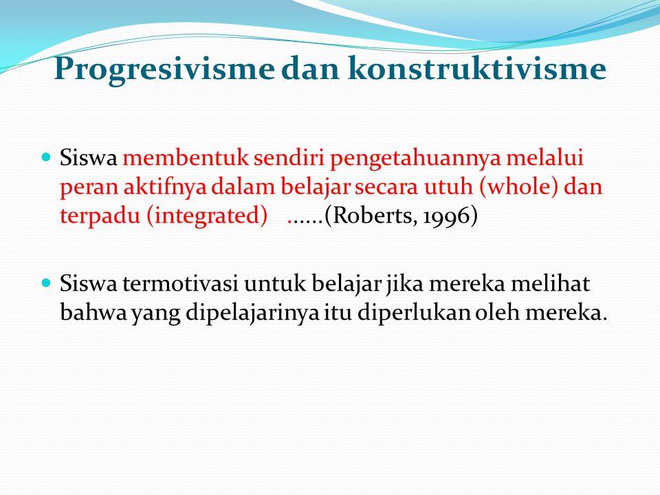 Progresivisme dan konstruktivisme Siswa membentuk sendiri pengetahuannya melalui peran aktifnya dalam belajar secara utuh (whole) dan terpadu (integra
