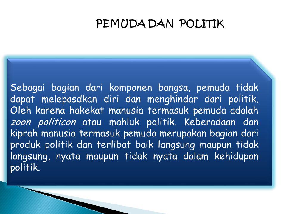 Sebagai bagian dari komponen bangsa, pemuda tidak dapat melepasdkan diri dan menghindar dari politik. Oleh karena hakekat manusia termasuk pemuda adal