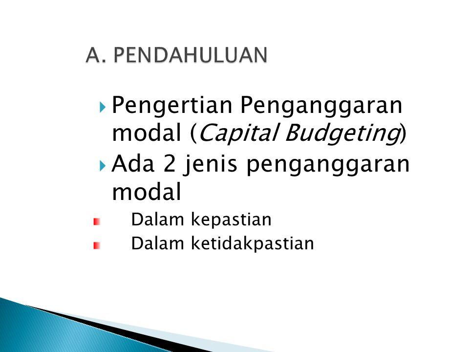  Pengertian Penganggaran modal (Capital Budgeting)  Ada 2 jenis penganggaran modal Dalam kepastian Dalam ketidakpastian