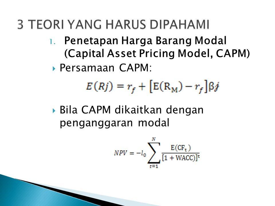 1. Penetapan Harga Barang Modal (Capital Asset Pricing Model, CAPM)  Persamaan CAPM:  Bila CAPM dikaitkan dengan penganggaran modal