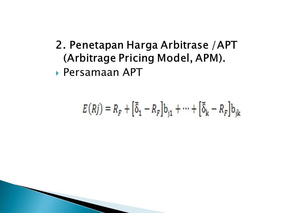 2. Penetapan Harga Arbitrase /APT (Arbitrage Pricing Model, APM).  Persamaan APT