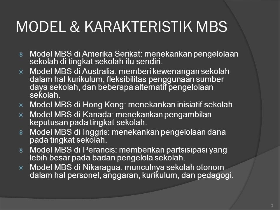 MODEL & KARAKTERISTIK MBS  Model MBS di Amerika Serikat: menekankan pengelolaan sekolah di tingkat sekolah itu sendiri.  Model MBS di Australia: mem