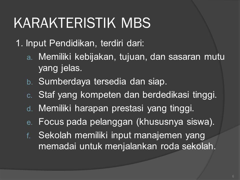 KARAKTERISTIK MBS 1. Input Pendidikan, terdiri dari: a. Memiliki kebijakan, tujuan, dan sasaran mutu yang jelas. b. Sumberdaya tersedia dan siap. c. S