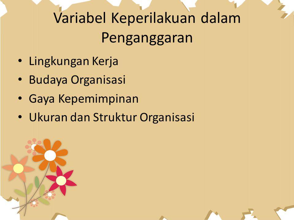 Variabel Keperilakuan dalam Penganggaran Lingkungan Kerja Budaya Organisasi Gaya Kepemimpinan Ukuran dan Struktur Organisasi