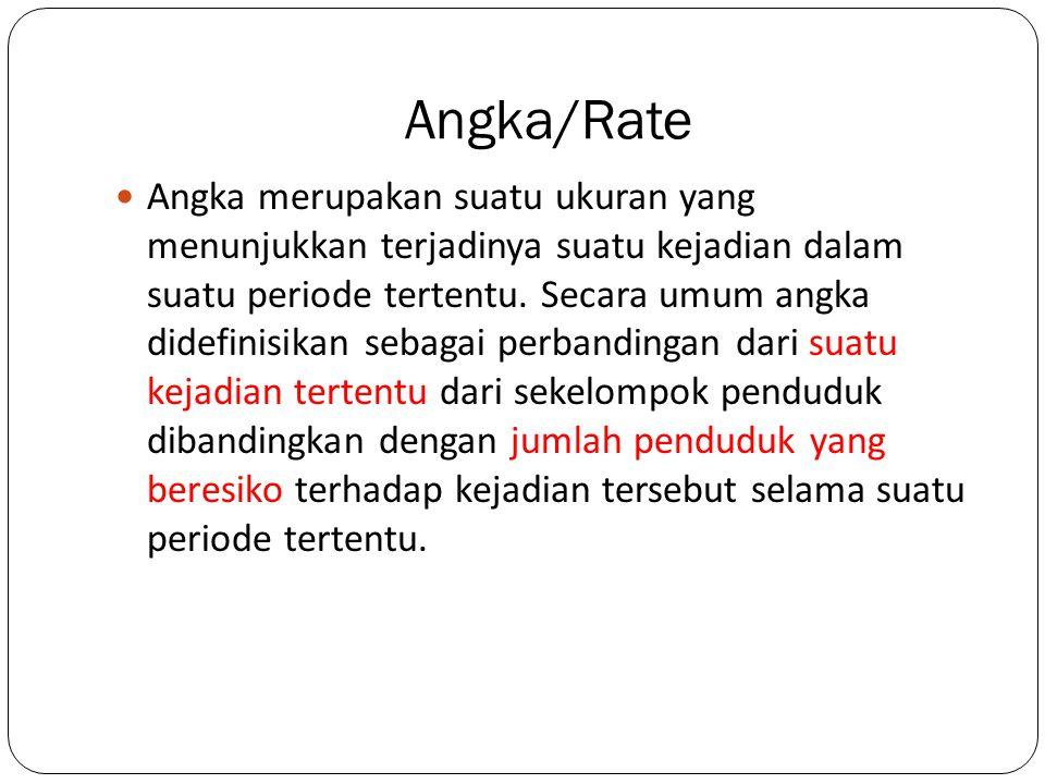 Angka/Rate Angka merupakan suatu ukuran yang menunjukkan terjadinya suatu kejadian dalam suatu periode tertentu. Secara umum angka didefinisikan sebag