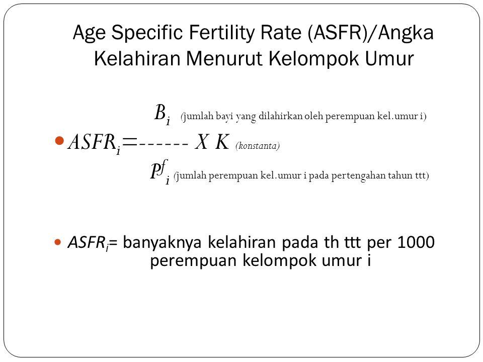 Age Specific Fertility Rate (ASFR)/Angka Kelahiran Menurut Kelompok Umur B i (jumlah bayi yang dilahirkan oleh perempuan kel.umur i) ASFR i =------ X
