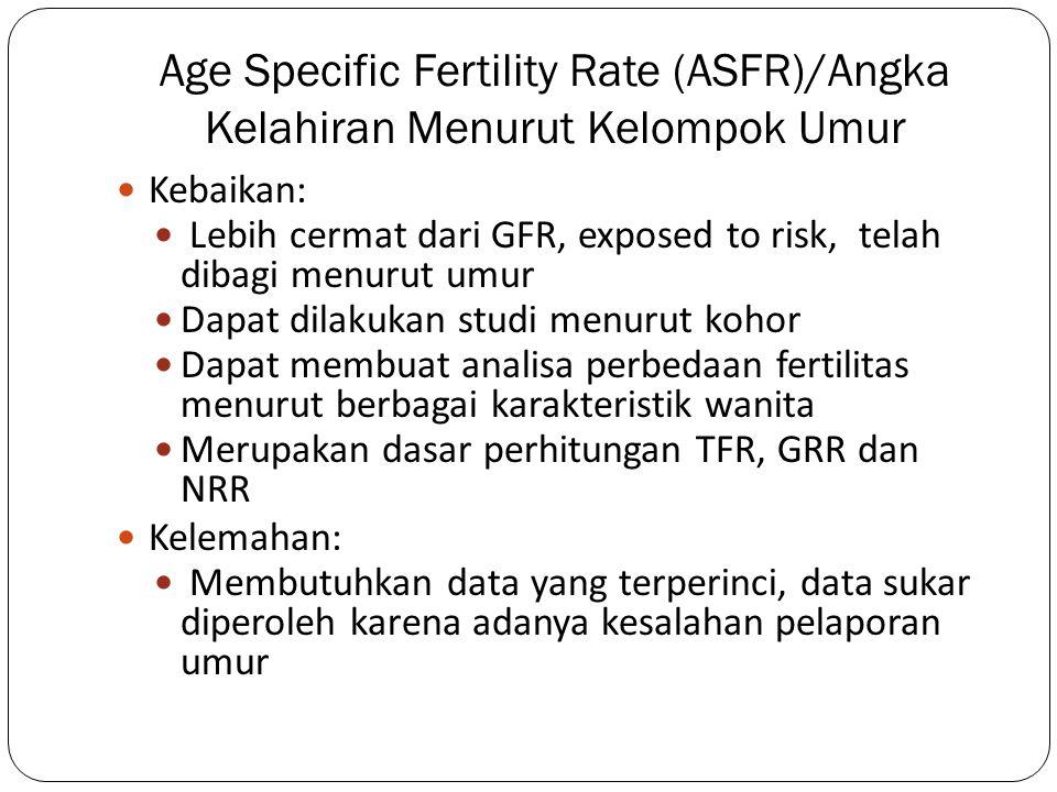 Age Specific Fertility Rate (ASFR)/Angka Kelahiran Menurut Kelompok Umur Kebaikan: Lebih cermat dari GFR, exposed to risk, telah dibagi menurut umur D