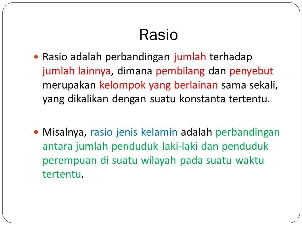 Rasio Rasio adalah perbandingan jumlah terhadap jumlah lainnya, dimana pembilang dan penyebut merupakan kelompok yang berlainan sama sekali, yang dika
