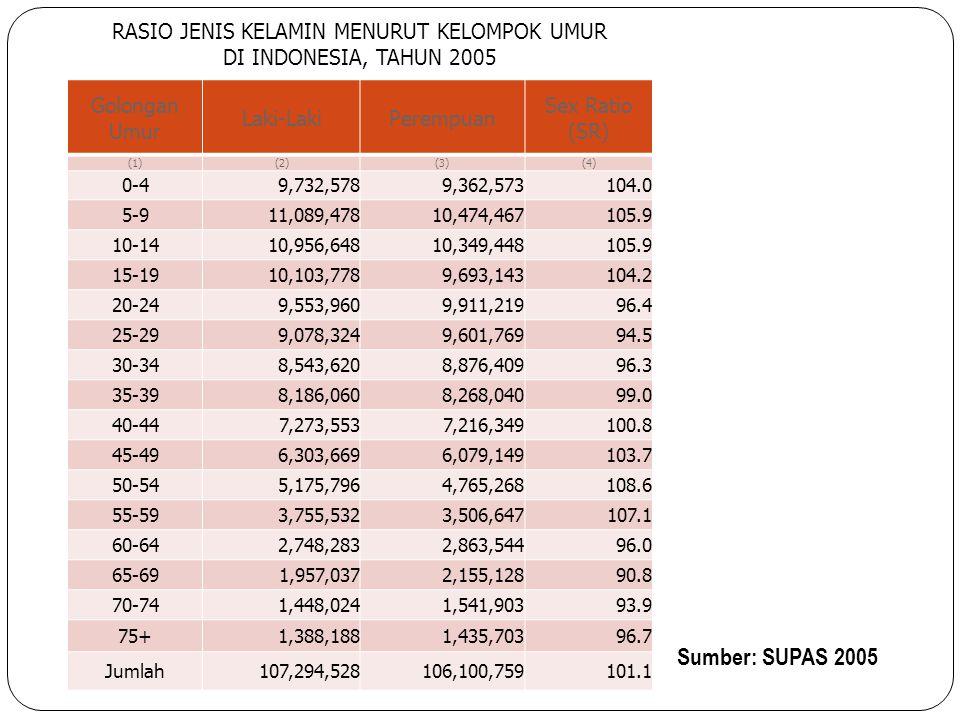 RASIO JENIS KELAMIN MENURUT KELOMPOK UMUR DI INDONESIA, TAHUN 2005 Sumber: SUPAS 2005