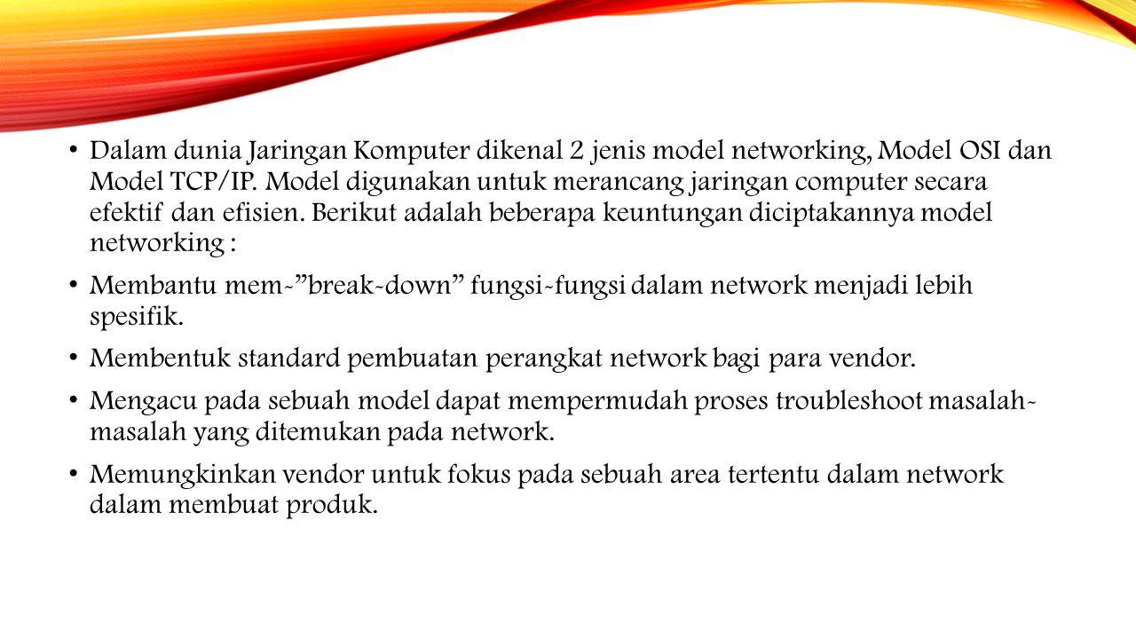 Model OSI (Open System Interconnection) merupakan standard yang mendefinisikan semua aspek komunikasi dalam jaringan computer.