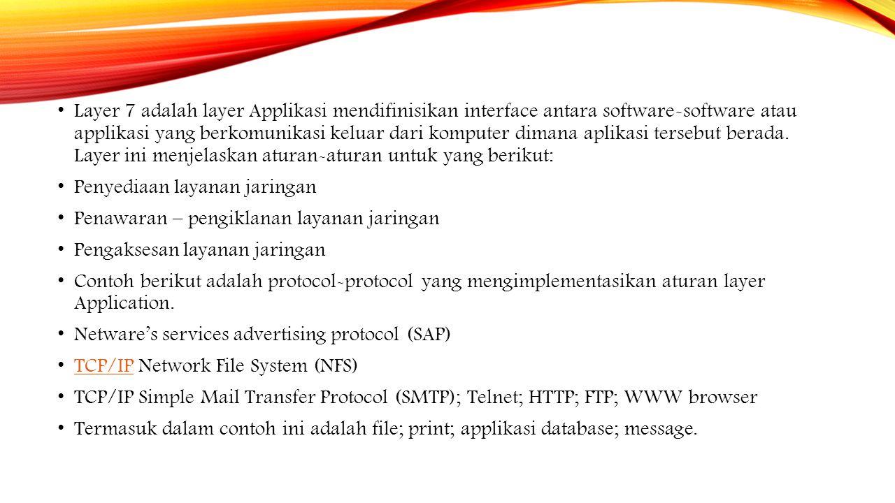Laye 2 (Data Link) Menyediakan pengalamatan fisik (MAC address).