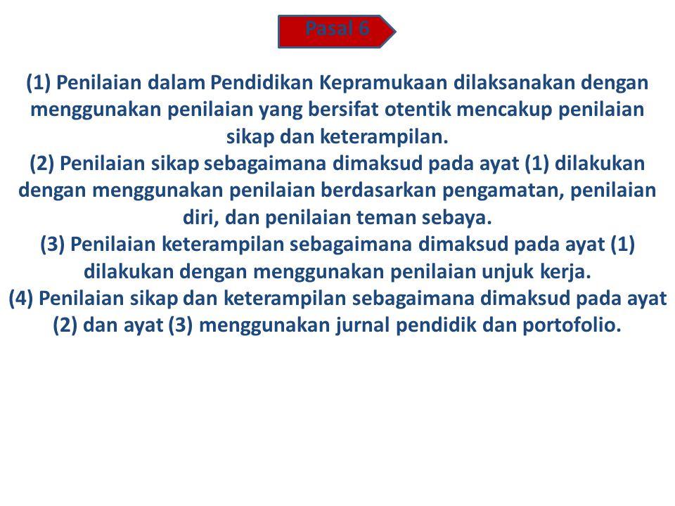 Pasal 4 Pendidikan Kepramukaan berisi perpaduan proses pengembangan nilai sikap dan keterampilan. Pasal 5 (1)Pola Kegiatan Pendidikan Kepramukaan diwu
