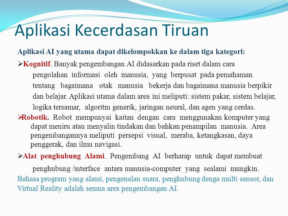 Aplikasi Kecerdasan Tiruan Aplikasi AI yang utama dapat dikelompokkan ke dalam tiga kategori:  Kognitif. Banyak pengembangan AI didasarkan pada riset