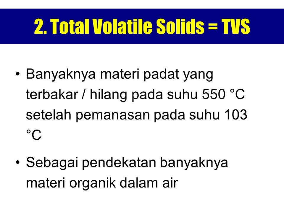 2. Total Volatile Solids = TVS Banyaknya materi padat yang terbakar / hilang pada suhu 550 °C setelah pemanasan pada suhu 103 °C Sebagai pendekatan ba