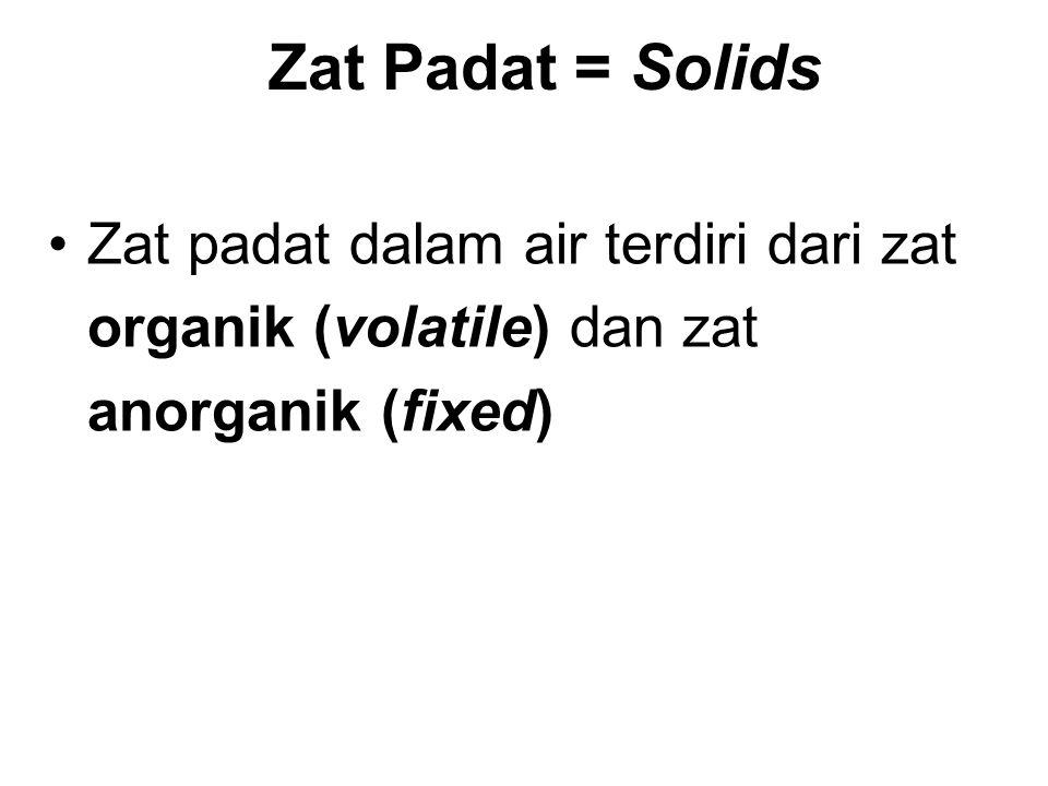 Zat padat dalam air terdiri dari zat organik (volatile) dan zat anorganik (fixed) Zat Padat = Solids