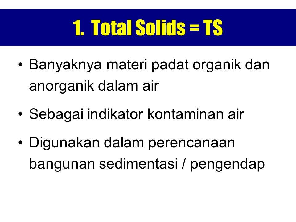 1. Total Solids = TS Banyaknya materi padat organik dan anorganik dalam air Sebagai indikator kontaminan air Digunakan dalam perencanaan bangunan sedi