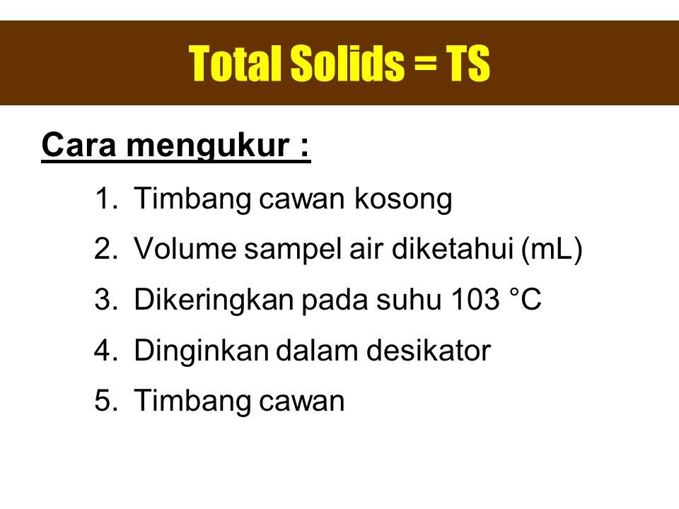 Total Solids = TS Cara mengukur : 1.Timbang cawan kosong 2.Volume sampel air diketahui (mL) 3.Dikeringkan pada suhu 103 °C 4.Dinginkan dalam desikator