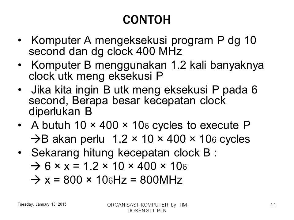 Tuesday, January 13, 2015 ORGANISASI KOMPUTER by TIM DOSEN STT PLN 11 CONTOH Komputer A mengeksekusi program P dg 10 second dan dg clock 400 MHz Kompu