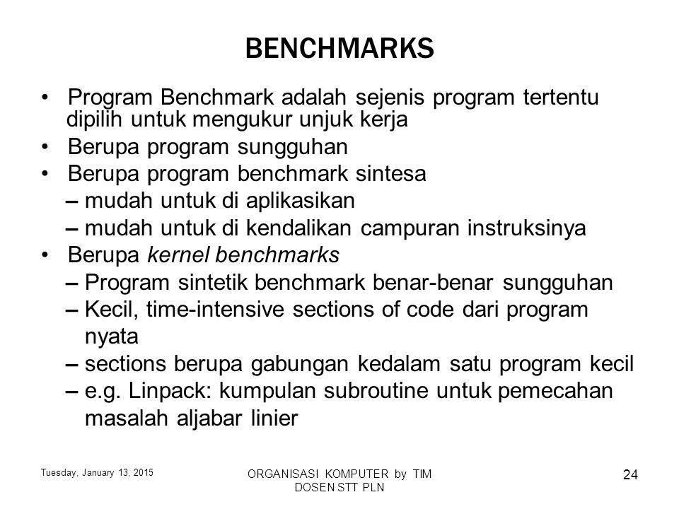 Tuesday, January 13, 2015 ORGANISASI KOMPUTER by TIM DOSEN STT PLN 24 BENCHMARKS Program Benchmark adalah sejenis program tertentu dipilih untuk mengu