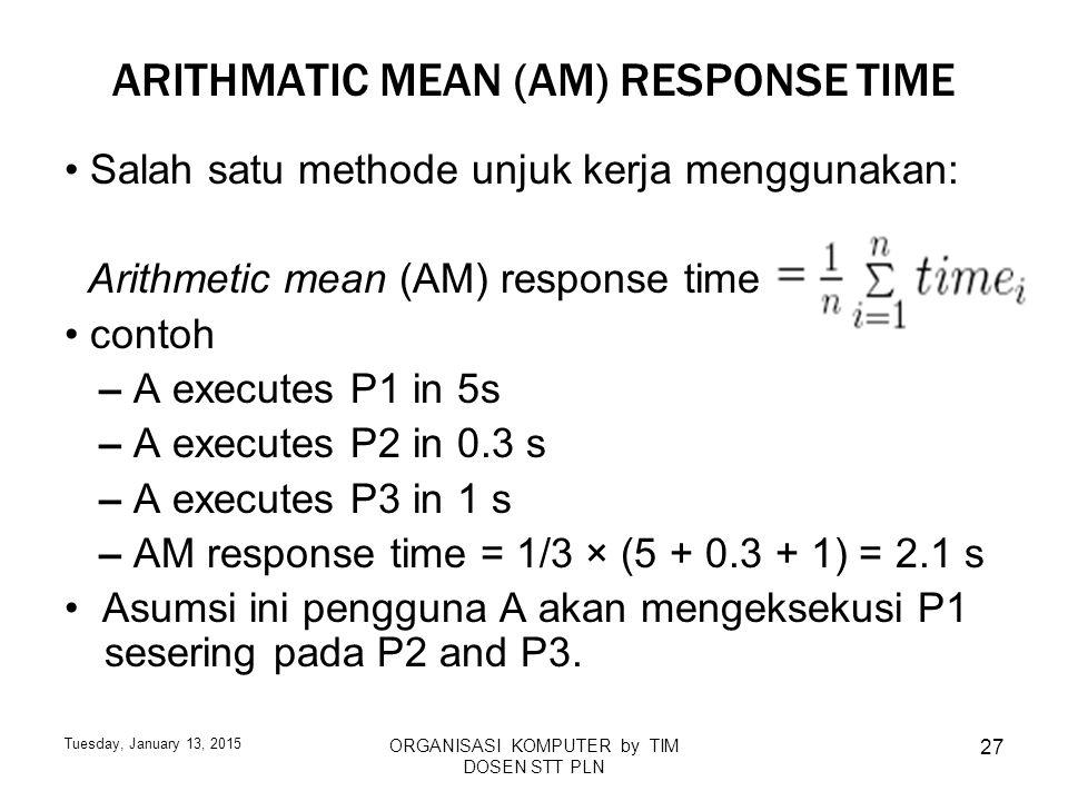 Tuesday, January 13, 2015 ORGANISASI KOMPUTER by TIM DOSEN STT PLN 27 ARITHMATIC MEAN (AM) RESPONSE TIME Salah satu methode unjuk kerja menggunakan: A