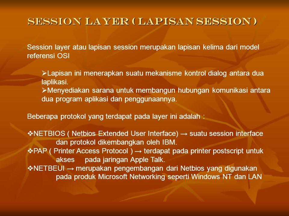 Layanan Lapisan Session Pada lapisan session ini terdapat dua jenis layanan yaitu : 1.Pembentukan dan pemutusan hubungan antara dua entitas presentasi.