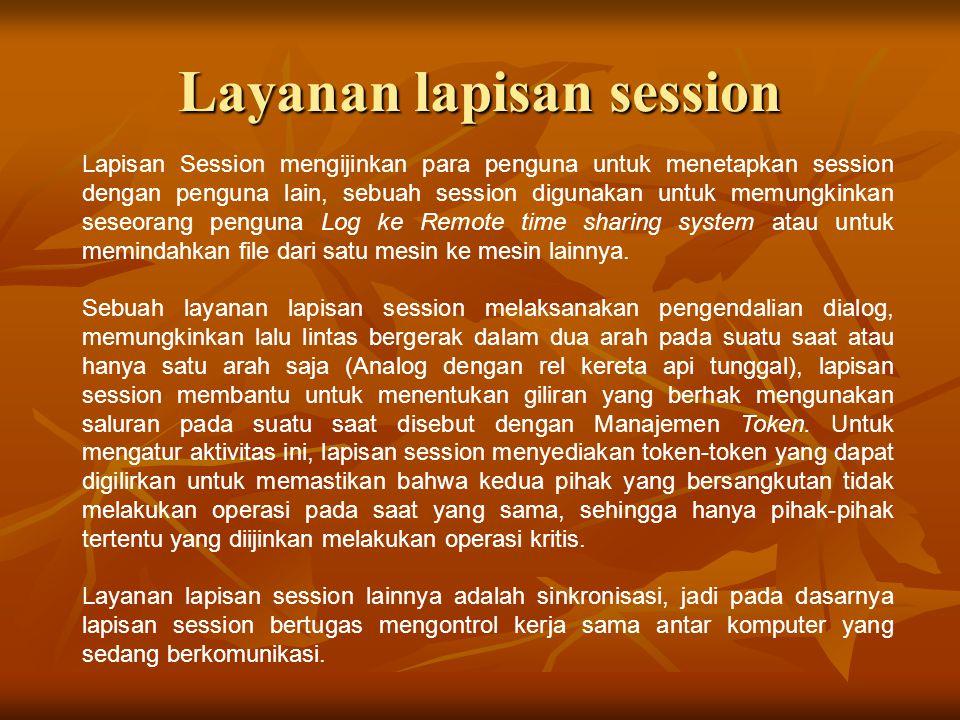 Layanan lapisan session Lapisan Session mengijinkan para penguna untuk menetapkan session dengan penguna lain, sebuah session digunakan untuk memungki