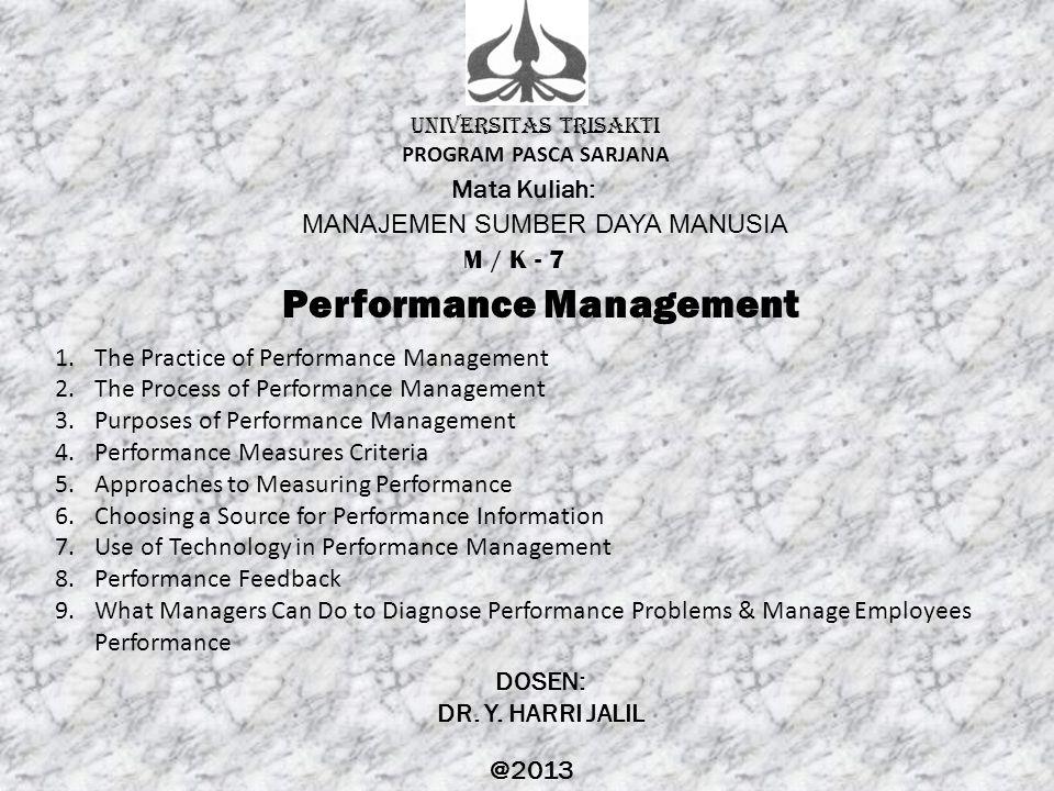 UNIVERSITAS TRISAKTI PROGRAM PASCA SARJANA Mata Kuliah: MANAJEMEN SUMBER DAYA MANUSIA M / K - 7 Performance Management DOSEN: DR. Y. HARRI JALIL @2013