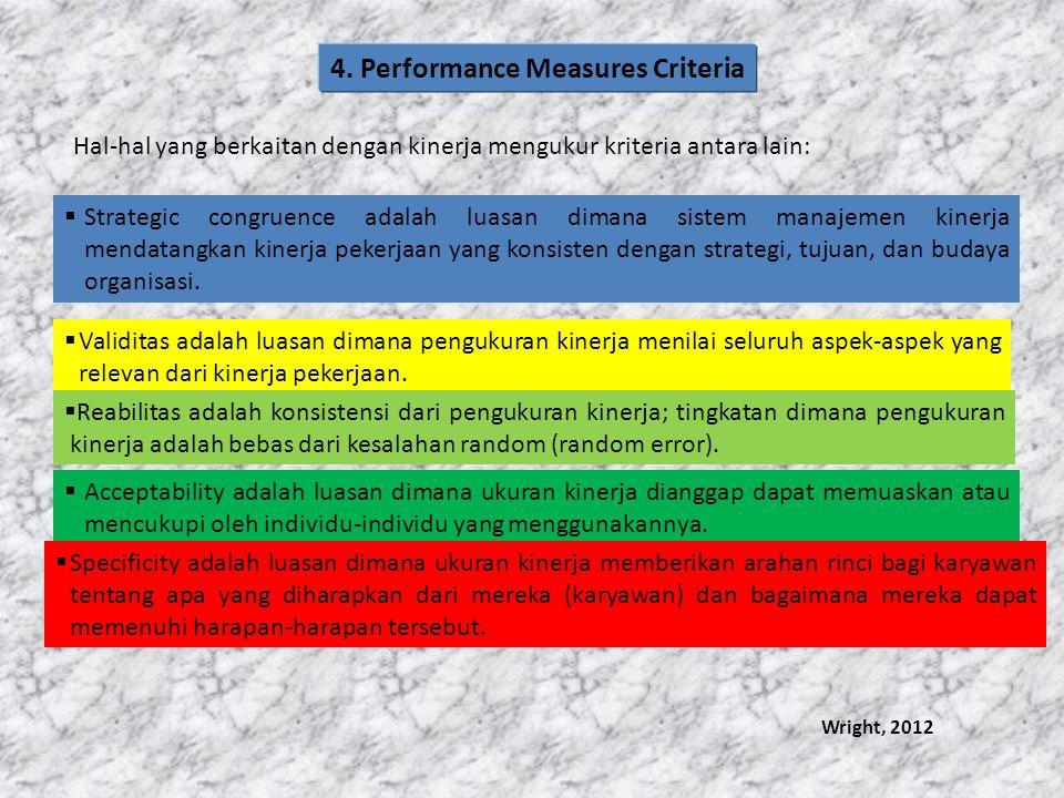 Hal-hal yang berkaitan dengan kinerja mengukur kriteria antara lain:  Strategic congruence adalah luasan dimana sistem manajemen kinerja mendatangkan