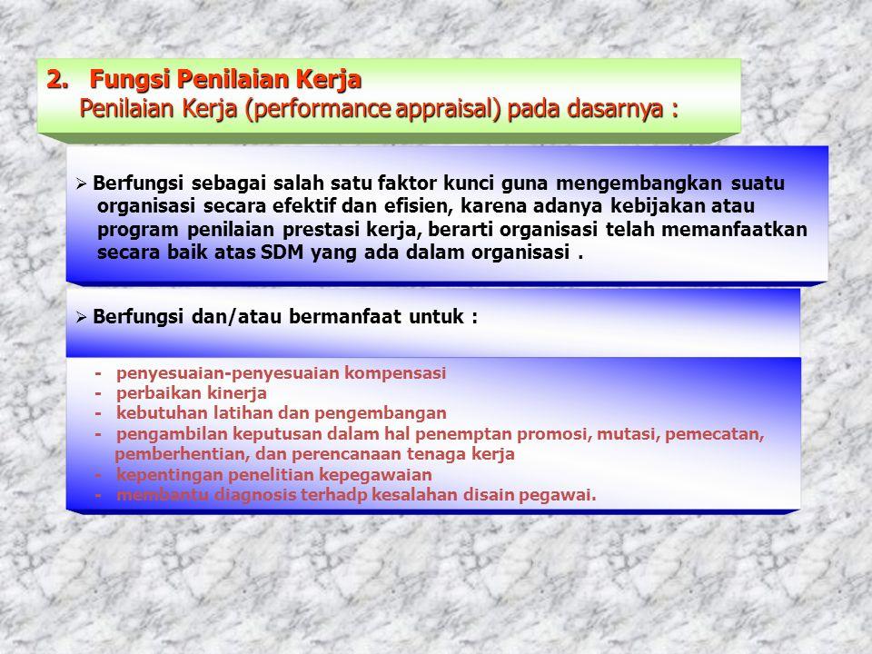2.Fungsi Penilaian Kerja Penilaian Kerja (performance appraisal) pada dasarnya : Penilaian Kerja (performance appraisal) pada dasarnya :  Berfungsi s