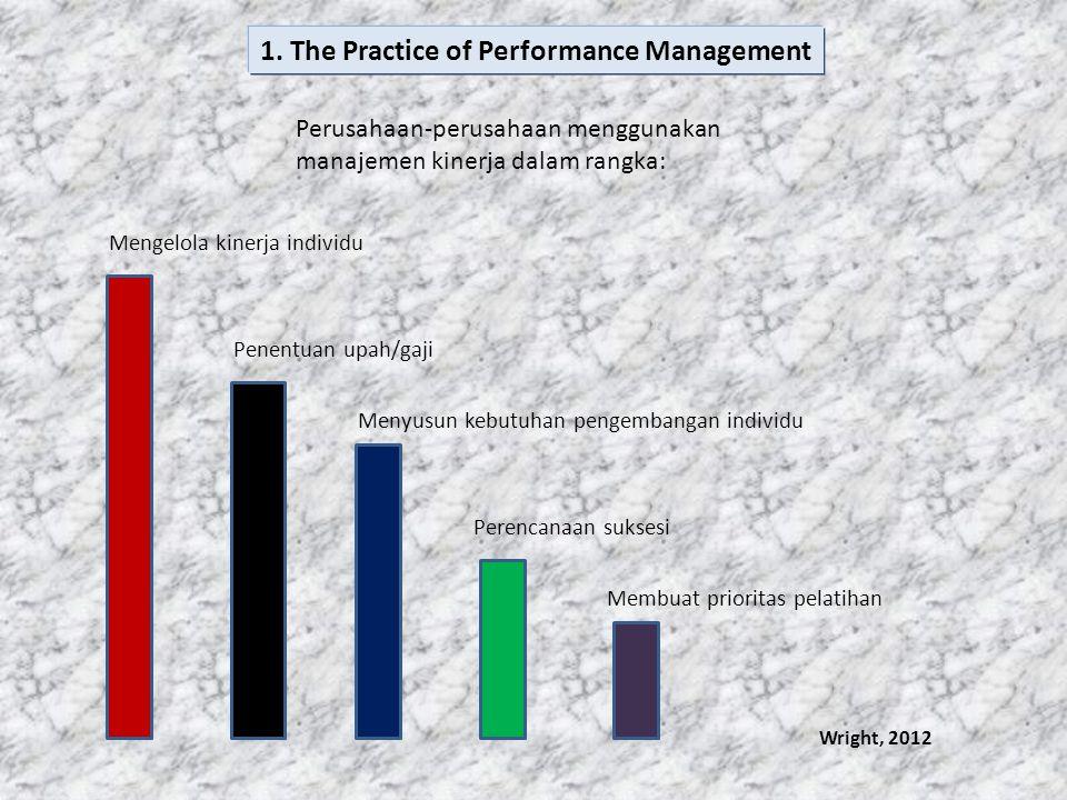 Strategi Organisasional Tujuan & Nilai jangka pendek & jangka panjang Hasil-hasil yang obyektif Perilaku individual Hambatan Situasional Budaya organisasional Kondisi Ekonomi Atribut individual (keterampilan Dan Kemampuan) Wright, 2012 MODEL ORGANISASI DARI MANAJEMEN KINERJA