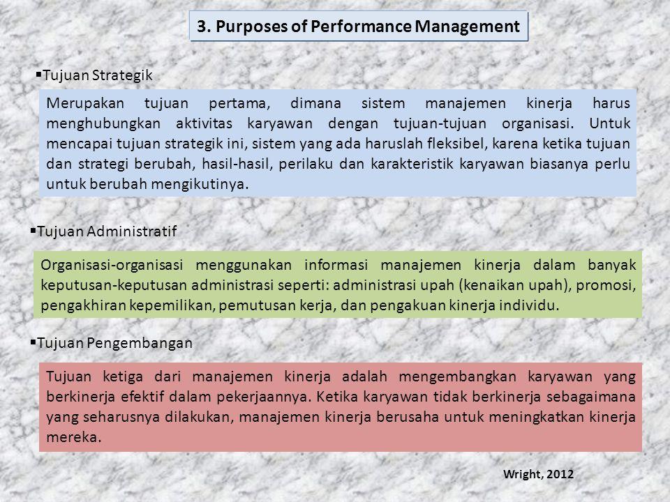  Tujuan Strategik Merupakan tujuan pertama, dimana sistem manajemen kinerja harus menghubungkan aktivitas karyawan dengan tujuan-tujuan organisasi. U