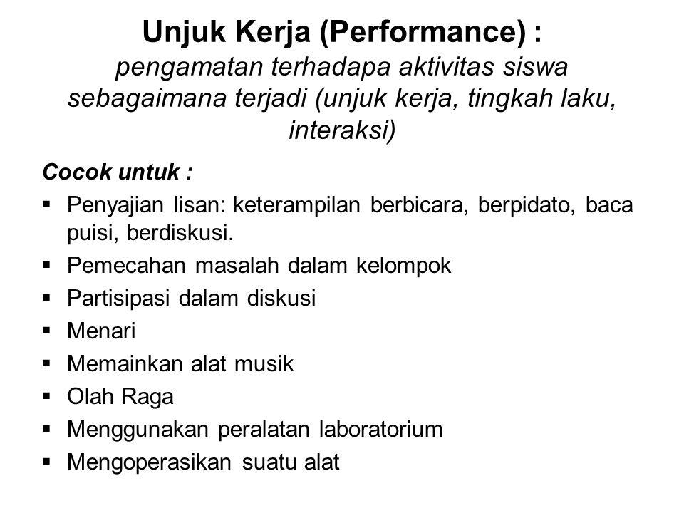 Unjuk Kerja (Performance) : pengamatan terhadapa aktivitas siswa sebagaimana terjadi (unjuk kerja, tingkah laku, interaksi) Cocok untuk :  Penyajian
