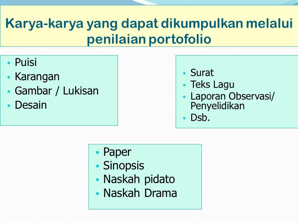 Karya-karya yang dapat dikumpulkan melalui penilaian portofolio Puisi Karangan Gambar / Lukisan Desain Surat Teks Lagu Laporan Observasi/ Penyelidikan