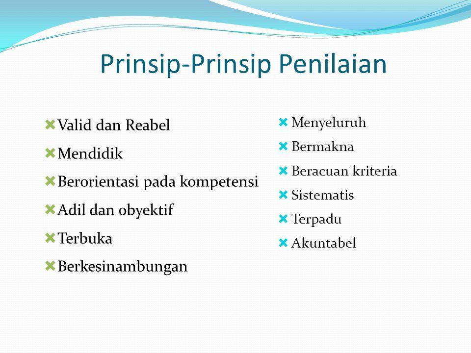 Prinsip-Prinsip Penilaian  Menyeluruh  Bermakna  Beracuan kriteria  Sistematis  Terpadu  Akuntabel  Valid dan Reabel  Mendidik  Berorientasi