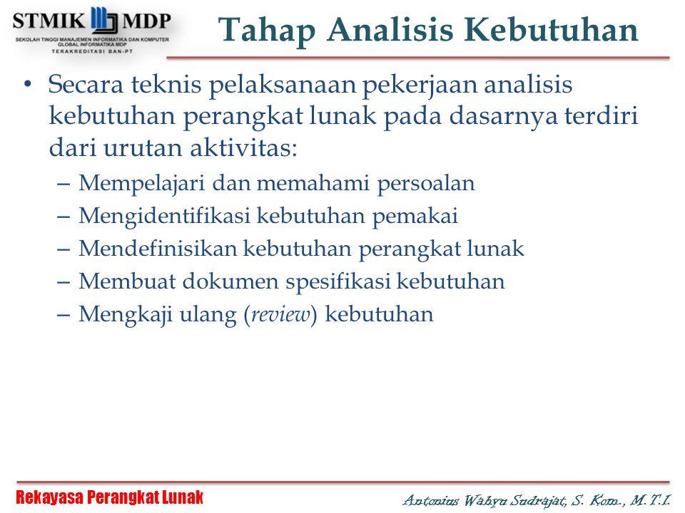 Rekayasa Perangkat Lunak Antonius Wahyu Sudrajat, S. Kom., M.T.I. Tahap Analisis Kebutuhan Secara teknis pelaksanaan pekerjaan analisis kebutuhan pera
